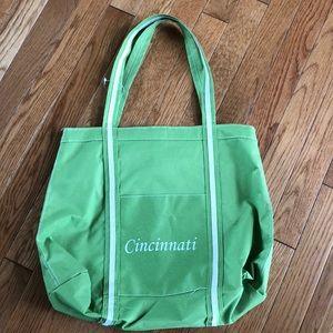 EUC Cincinnati lime green tote-carry all